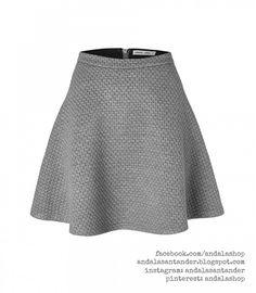 Falda ajustada a la cintura y vuelo. Gris 34 €. Tela acolchada