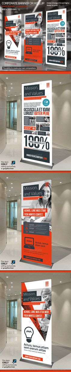 Buy Corporate Banner or Rollup Vol. 7 by Paulnomade on GraphicRiver. Modern and clean design for banner/rollup. Perfect for PR agency or other business promotion. Pull Up Banner Design, Standing Banner Design, Pop Up Banner, Best Banner, Web Design, Layout Design, Rollup Design, Retractable Banner, Banner Stands