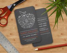 Teachers Apple Business Card Chalkboard Apple  by PaperSunStudio