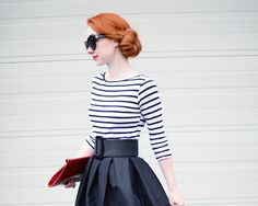 50s skirt and srtipe top