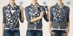 Om een patroon goed tot zijn recht te laten komen, moet je de sjaal zo om de hals wikkelen dat één uiteinde langer is dan het andere...