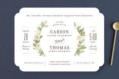 """Longwood Estates"" - Floral & Botanical, Elegant Wedding Invitations in Peach Sorbet by Jennifer Wick."