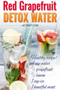 Try this Red Grapefruit water and 5 other fruit-infused detox water recipes to lose weight. These detox waters boost metabolism and burn fat. Check the 6 healthy drinks to lose weight and clear skin: http://www.actabit.com/detox-water-recipes/ �