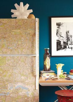 Decoupage the fridge with maps of places you love -- From Crafting a Meaningful Home by Meg Mateo Ilasco