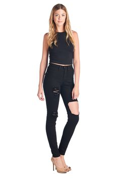 Parkers Jeans - Distressed Cutout High Waisted Skinny Jeans  #demin #highwaisted #skinny #distressed #ripped #cutout #jeans #fashion #model #photoshoot #lookbook #parkersjeans
