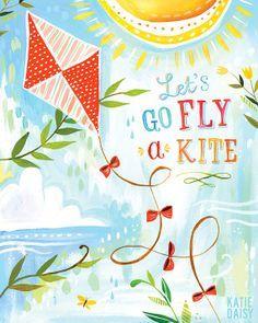 let's go fly a kite | katie daisy illustrator