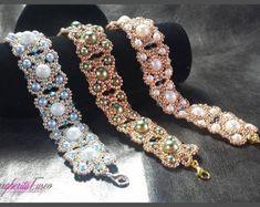 Albachiara bracelet tutorial. Pdf pattern, how to make a bracelet using pearls and seed beads.