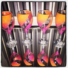 Ombré neon tangerine sunrise wine glasses https://www.facebook.com/glittercave/