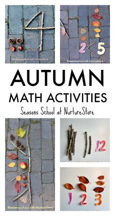 autumn maths activities, fall math activities, fall math centers, outdoor math activities with leaves, twig math ideas Autumn Eyfs Activities, Forest School Activities, Math Activities For Kids, Math For Kids, Educational Activities, Nursery Activities, Math Games, Outdoor Activities, Fall Preschool