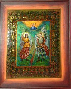 Sfinții Arhangheli Mihail și Gavriil (Orthodox icon- reverse painting on glass) Religious Icons, Painting, Art, Art Background, Painting Art, Kunst, Paintings, Performing Arts, Painted Canvas