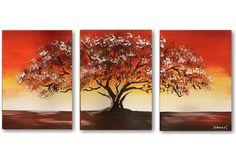 Schilderij Sunset Tree 4, drieluik van Aleksandra - Kunstvoorjou.nl