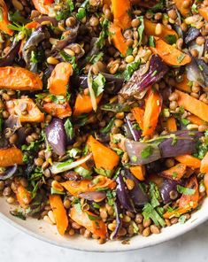 Warm Cumin Roasted Carrot, Red Onion and Lentil Salad Deliciously Ella Veggie Recipes, Whole Food Recipes, Vegetarian Recipes, Cooking Recipes, Healthy Recipes, Lentil Salad Recipes, Warm Salad Recipes, Best Lentil Recipes, Red Onion Recipes