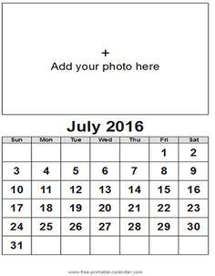 July 2016 Calendar Month