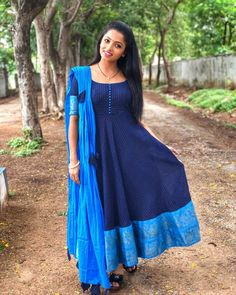 Image may contain: 1 person, standing and outdoor Cotton Saree Blouse Designs, Fancy Blouse Designs, Dress Neck Designs, Indian Designer Outfits, Designer Dresses, Salwar Kameez Neck Designs, Frock Models, Long Gown Dress, Long Frock