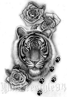 """75 """"With"""" Flower Tattoo Designs! Tiger Print Tattoos, Tiger Tattoo Thigh, Girl Thigh Tattoos, Tiger Tattoo Design, Baby Tattoos, Dream Tattoos, Family Tattoos, Body Art Tattoos, Sleeve Tattoos"""