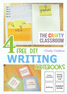 Newly Updated!  Free Printables and Daily Instructions for making four different writing notebooks for kids.  Spelling, Vocabulary, Daily Journaling, and More