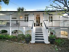 Property data for 11 Pitt Street, Annerley, Qld View sold price history for this house and research neighbouring property values in Annerley, Qld 4103 House Deck, Facade House, House Front, House Exteriors, Front Stairs, Entry Stairs, Front Verandah, Front Deck, Queenslander House