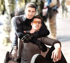 Chris Redfield and Piers Nivans. He made it through and now everyone's happy.