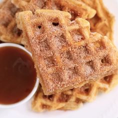 These Churro Waffles are over-the-top delicious and the perfect addition to holiday brunches! Waffle Maker Recipes, Waffle Toppings, Pancake Recipes, Breakfast Recipes, Mexican Food Recipes, Sweet Recipes, Dessert Recipes, Crepe Recipes, Drink Recipes