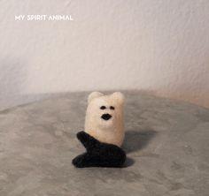 Polar Bear and Fish, Polar Bear, Needle Felted Animal, Felted Bear, Fish, Art toy, Cute Bear, Miniature, Miniature Art ,Tiny Bear by MySpiritAnimaI on Etsy