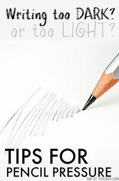 These pencil pressure writing tips are strategies for when kids that press too hard in writing or write too lightly. Awesome for handwriting legibility! Pencil Writing, Pre Writing, Kids Writing, Writing Skills, Writing Tips, Writing Prompts, Hand Writing, Fiction Writing, Messy Handwriting