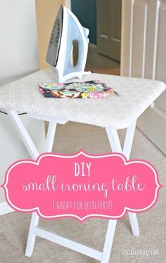 This is so smart! And probably way cheaper and smaller than a full size ironing board. [diy small ironing table : Great for quilting, small sewing projects, or as an ironing board in a dorm room.