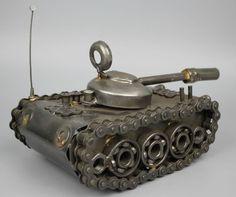 Modelo de escultura del Metal de desecho reciclado hecho a