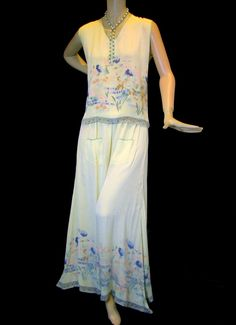 1930s Silky Wide Leg Lounging Pajamas, Screen Print Floral.