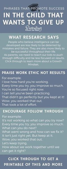 Helpful infographic for parents and teachers to help children that want to give up. #parenting #homeschool #teacher