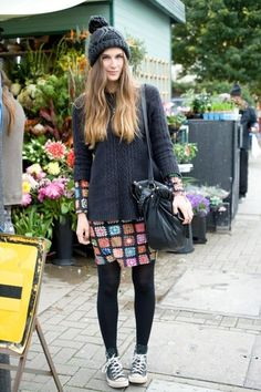 International Street Style Chunky Knits and Converse
