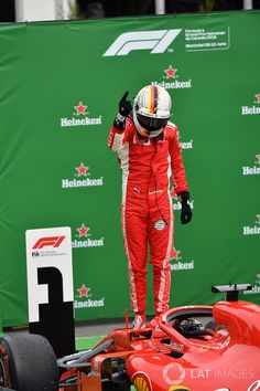 Sebastian Vettel celebrates his win in the Canadian Grand Prix
