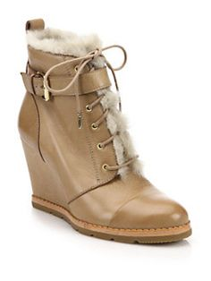 Kate Spade New York - Tay Leather & Faux Fur Booties