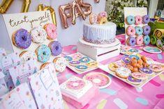 A Donut Decorating Birthday Party — Tag & Tibby Design 2nd Birthday Party For Girl, Donut Birthday Parties, First Birthday Themes, Birthday Party Decorations, First Birthdays, Birthday Ideas, Girl Theme Party, Card Birthday, Frozen Birthday
