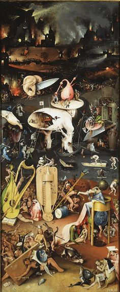 Hieronymus Bosch The Garden of Earthly Delights Hell. Bosch depicts a world in which humans have succumbed to temptations that lead to evil and reap eternal damnation. The tone of this final panel strikes a harsh contrast to those preceding it. Renaissance Kunst, Garden Of Earthly Delights, Poster Prints, Art Prints, Poster Poster, Art Plastique, Oeuvre D'art, Dark Art, Les Oeuvres