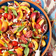 We love ripe summer peaches and tomatoes, so why not combine the two? The result is a sweet and tangy summer salad with red onion, feta cheese, and basil that will fit right in at your summer picnic or potluck.