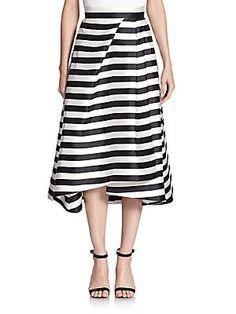 NICHOLAS Striped Midi Skirt - Black-White - Size 10