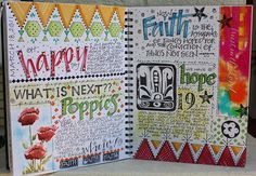 SMaSHBooK ____You don't have to be an artist in order to produce a pretty journal. Cute handwriting & nifty designs go a long way. Journal D'art, Creative Journal, Art Journal Pages, Art Journals, Journal Ideas, Scripture Journal, Happy Journal, Doodling Journal, Dream Journal