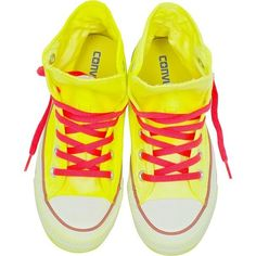 Converse Limited Edition Shoes Chuck Taylor All Star Hi Neon Yellow... ($145) ❤ liked on Polyvore featuring shoes, sneakers, hi top canvas sneakers, canvas high tops, lace up sneakers, canvas trainers and high top canvas shoes