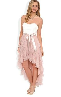 Strapless High Low Prom Dress with Ruched Bodice and Tendril Skirt - DRESS on InStores
