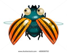 Colorado potato beetle. Game icon funny flying insect. Vector design for app user interface.