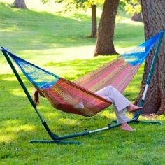 The perfect hammock stand for Mayan, Brazilian & Nicaraguan Hammocks! When you need a no-hassle way to hang your non-spreader hammock,. Balcony Furniture, Outdoor Furniture, Outdoor Decor, Furniture Ideas, Outdoor Living, Hammocks For Sale, Hammock Swing, Relax, Hand Weaving