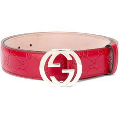 Gucci Signature interlocking GG buckle belt (22.170 RUB) ❤ liked on Polyvore featuring accessories, belts, red, gucci, gucci belt, buckle belt, red belt and logo belts