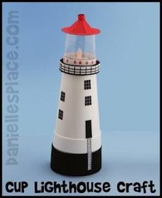 Puddle Wonderful Learning: {DIY} Cheap and Easy Lighthouse Cup Crafts, Crafts To Make, Crafts For Kids, Beach Crafts, Summer Crafts, Projects For Kids, Craft Projects, Styrofoam Crafts, Church Crafts