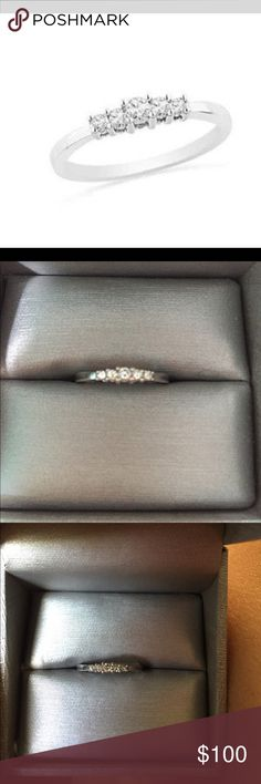 10k white gold ring with little diamonds zales 6 Used 10 k white gold ring with real diamonds from Zales. Ring size 6 Zales Jewelry Rings