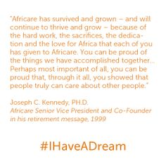 Dr. Joseph C. Kennedy, Africare's Co-Founder, speaks at his retirement in 1999. #IHaveADream