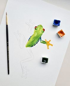 Frog watercolor illustration by Studio Sonate Watercolor Illustration, Studio, Prints, Instagram, Design, Studios, Watercolour Illustration
