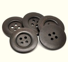 Extra large button - 3 dark brown wooden buttons 50mm (2) (BB151B)