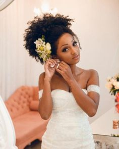 natural hair wedding 13 Breathtaking Natural Hair Updos For Weddings - The Blessed Queens Natural Hair Wedding, Natural Wedding Hairstyles, Curly Wedding Hair, Natural Hair Updo, Wedding Updo, Bride Hairstyles, Bridal Hair, Natural Hair Styles, Afro Hair Wedding Styles