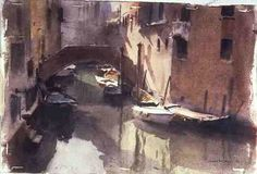 Trevor Chamberlain - A Quiet Canal in Venice, 1990 (w/c on paper