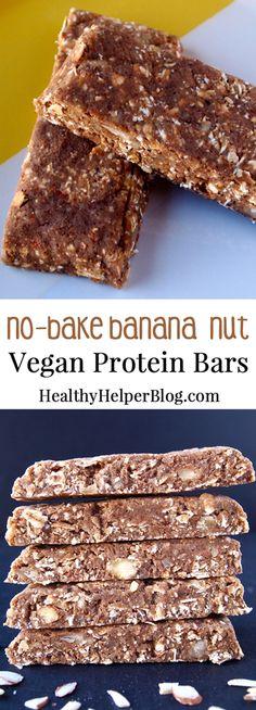 No-Bake Banana Nut Vegan Protein Bars-Healthy Helper No Bake Protein Bars, Healthy Protein Snacks, Protein Brownies, Protein Bar Recipes, Healthy Bars, Protein Powder Recipes, Vegetarian Protein, Protein Foods, Vegan Snacks